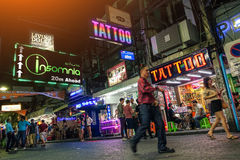 Multicolored neon signs on the Walking Street of Pattaya in Thailand Royalty Free Stock Image