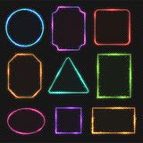 Multicolored neon vector border frames. Simple shapes of light banners. Oval and square, illustration of rectangle and triangle color frames vector illustration