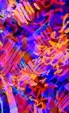 Multicolored neonachtergrond van slagen, gekrabbel Stock Fotografie