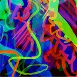 Multicolored neonachtergrond van slagen, gekrabbel, spiralen Royalty-vrije Stock Afbeelding