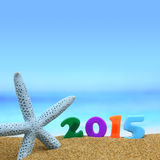 Multicolored new year 2015. On the beach Stock Photos