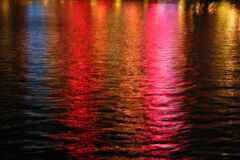 multicolored night water texture, Las Vegas Royalty Free Stock Images