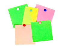 Multicolored note paper. Isolated on white background Stock Photo