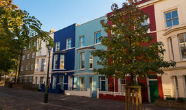 The multicolored Notting Hill houses, London, UK. Royalty Free Stock Photos