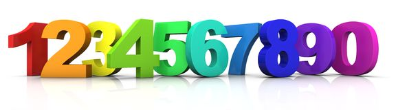 Multicolored numbers. Big multicolored 3d numbers from 1 to 9 plus 0 standing in a row - 3d rendering/illustration Stock Image
