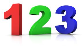 Multicolored numbers. Big red green and blue 3d numbers 123 - 3d rendering/illustration royalty free illustration