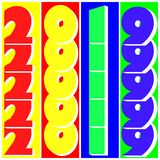 Multicolored numbers 2019 in pop art style. Stripes multicolored numbers 2019 in pop art style vector illustration