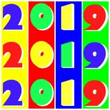 Multicolored numbers 2019 in pop art style. Stripes multicolored numbers 2019 in pop art style stock illustration