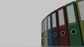 Multicolored office binders for reports and presentations. 3D rendering. Multicolored office binders for reports and presentations. 3D Royalty Free Stock Photography