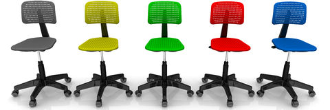 Multicolored office chairs Stock Photos