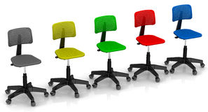 Multicolored Office Chairs Lined Up In Row Royalty Free Stock Images