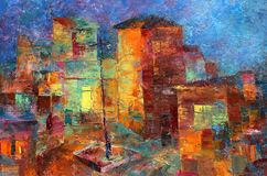 Multicolored oil painting of colorful cute houses vector illustration