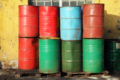 Multicolored old oil barrels Stock Photography