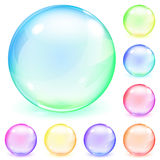 Multicolored opaque glass spheres. Set of multicolored opaque glass spheres with glares and shadows Stock Images