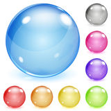 Multicolored opaque glass spheres. Set of multicolored opaque glass spheres with glares and shadows stock illustration