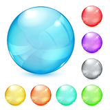 Multicolored opaque glass spheres. Set of opaque glass spheres in various colors vector illustration