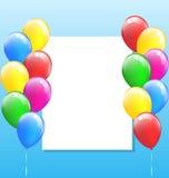 Multicolored opblaasbare luchtballen met kader op hemel Stock Afbeelding