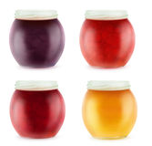 Multicolored open jars with fruit jam Royalty Free Stock Photography