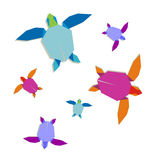 Multicolored origami turtle group Royalty Free Stock Photo