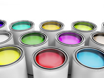 Multicolored Paint Cans on White background  Stock Photos
