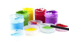 Multicolored paint in open banks Stock Images