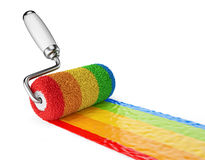 Multicolored paint roller. 3D Icon isolated Royalty Free Stock Photo