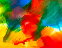 Multicolored paint smudge. Colorful background hand drawn with bright inks and watercolor paints. Color splashes and splatters create uneven artistic modern Royalty Free Stock Photo