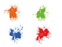 Multicolored paint splats. Come in orange, green, blue and red Royalty Free Stock Photos