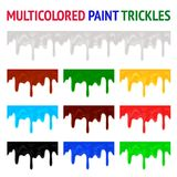 Multicolored paint trickles Stock Photos