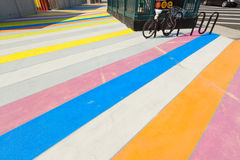 Multicolored painted sidewalk. Stock Image