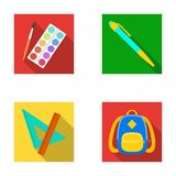 Multicolored paints with a tassel, pen, triangle and ruler, satchel, briefcase. School and education set collection. Icons in flat style vector symbol stock Royalty Free Stock Photography