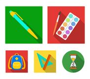 Multicolored paints with a tassel, pen, triangle and ruler, satchel, briefcase. School and education set collection. Icons in flat style vector symbol stock Stock Photo
