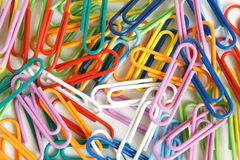 Multicolored paper clips Royalty Free Stock Photo