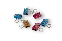 Multicolored paper clips Stock Photo