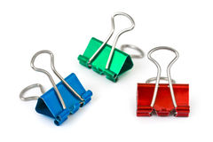 Multicolored paper clips Stock Photos
