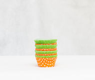 Multicolored paper forms for muffins Royalty Free Stock Images