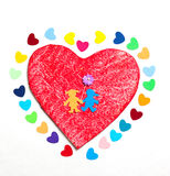 Multicolored paper hearths on a wooden red heart and paper boy and girl Stock Photos