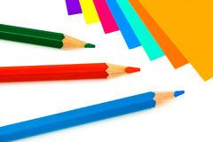 Multicolored paper and pencils Royalty Free Stock Photo