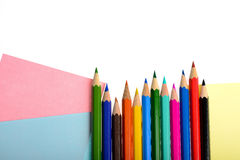 Multicolored paper and pencils isolated Stock Images