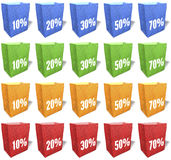Multicolored, paper shopping bags, sales slogans, keywords, print, set 2 Royalty Free Stock Image