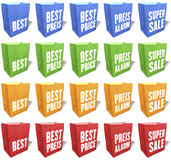 Multicolored, paper shopping bags, sales slogans, keywords, print, set 4 Royalty Free Stock Photo