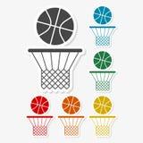 Multicolored paper stickers - Basketball icon vector illustration