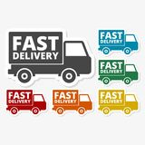 Multicolored paper stickers - Fast Delivery service. Vector icon Stock Photos