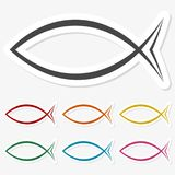 Multicolored paper stickers - Fish icon. Vector icon Royalty Free Stock Photos