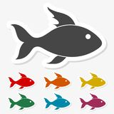 Multicolored paper stickers - Fish icon. Vector icon Royalty Free Stock Photography