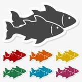 Multicolored paper stickers - Fish icon. Vector icon Stock Image