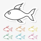 Multicolored paper stickers - Fish icon. Vector icon Royalty Free Stock Images