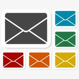 Multicolored paper stickers - mail. Icon Royalty Free Stock Photos