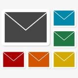 Multicolored paper stickers - mail. Vector icon Stock Image