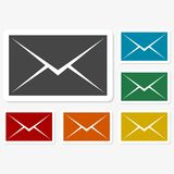 Multicolored paper stickers - mail. Vector icon Royalty Free Stock Photography